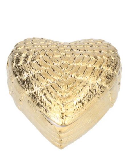 Gold Ceramic Heart Wings Trinket Pot