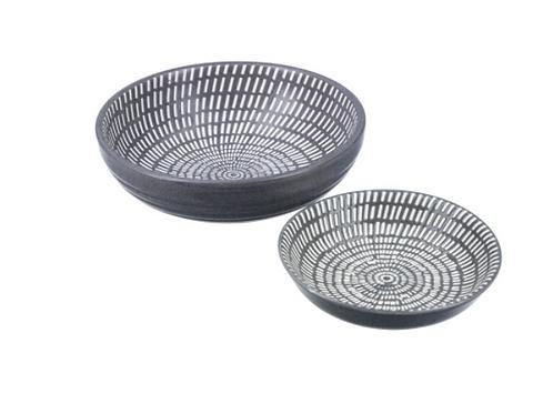 Dark Grey Ceramic Dash Round Trinket Dish