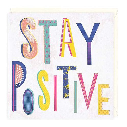 Stay Positive Neon Typography Card