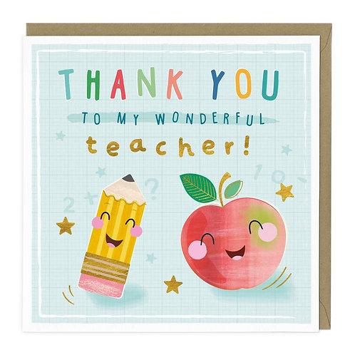 Wonderful Teacher Thank You Card