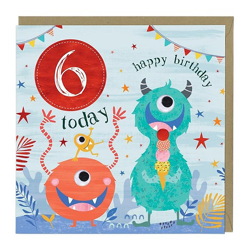6 Today Monsters Children's Birthday Card