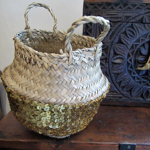 Small Gold Sequin Rice Basket