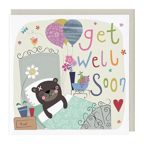 Get well soon bear card