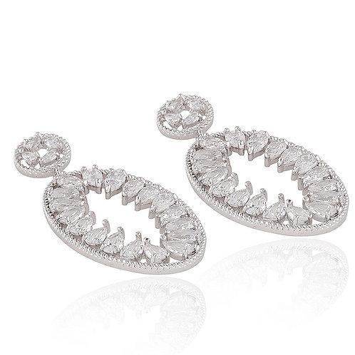CZ Oval Drop Earrings