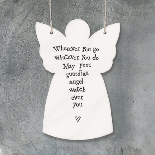 East of India Porcelain Hanging Angel - Wherever you go