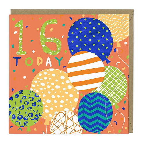 16 Today Balloons Birthday Age Card