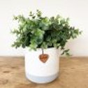 Personalised small white & grey pot