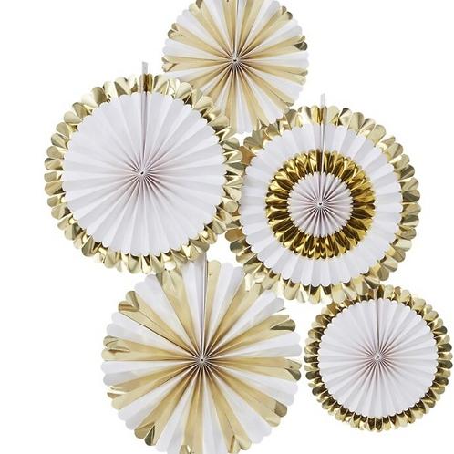 Gold Foiled Paper Fan Decorations