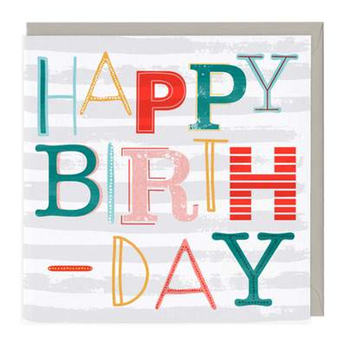 Fun Typography Neon Birthday Card