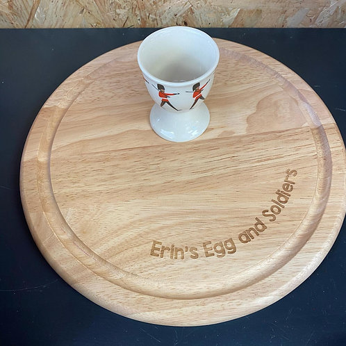 Personalised Round Board & Egg Cup