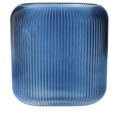 Blue Glass Ribbed Oval Vase