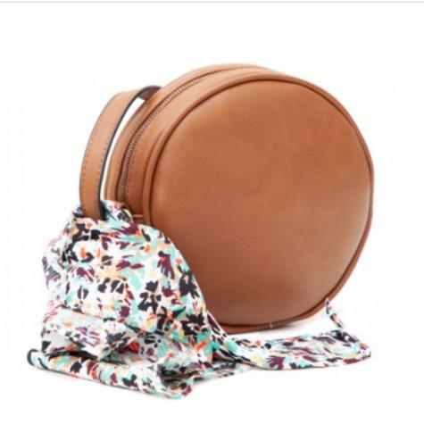 Round Tan crossbody Bag