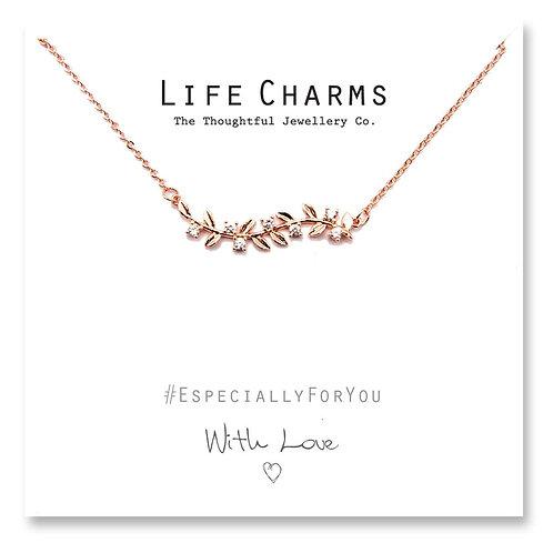 Rose Gold Crystal Leaves Necklace