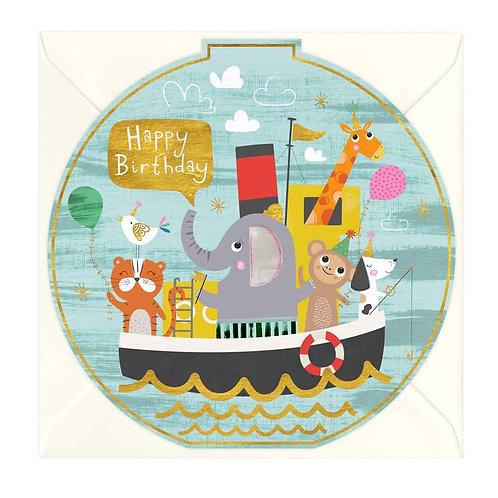 Birthday Friends Boat Round Card