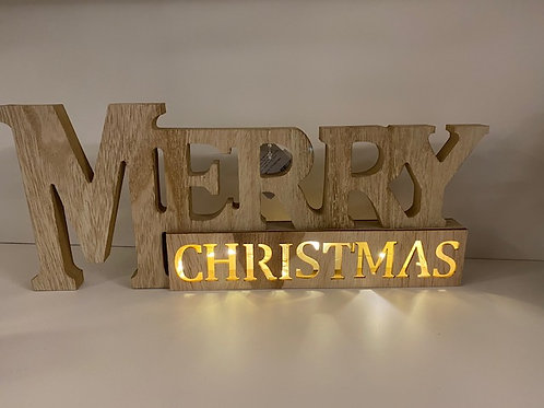 Light up Merry Christmas Wooden Sign