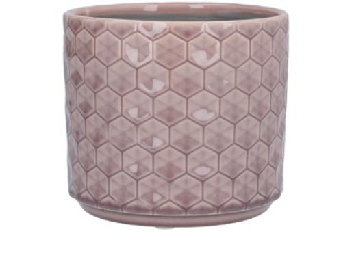 Dusky Mauve Honeycomb Ceramic Pot