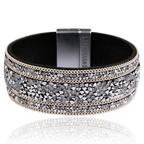 Silver Crystal Beaded Wrap Bracelet