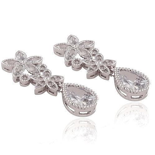 CZ Crystal Flowery Drop Earrings
