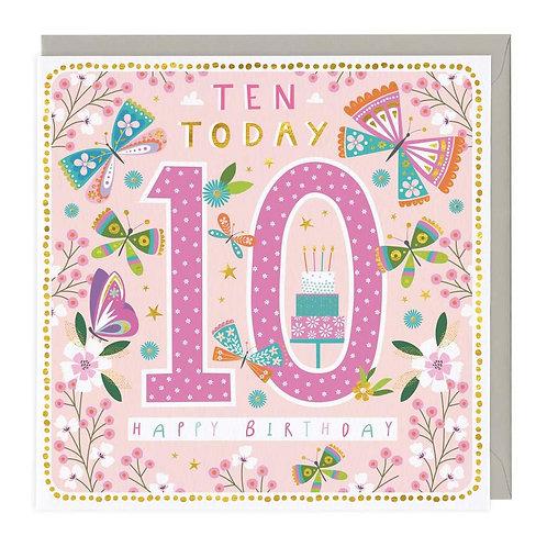 10 Today Butterflies Children's Birthday Card