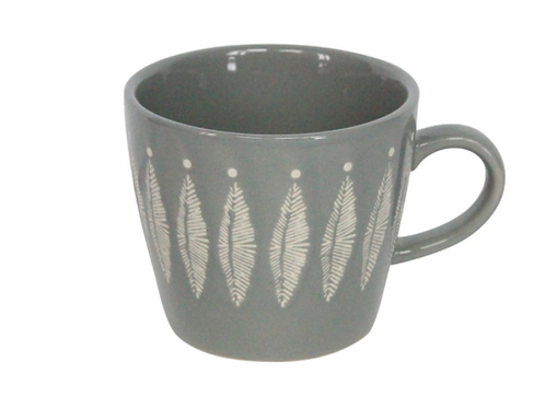 Grey/White Feather Gisela Graham Ceramic Mug