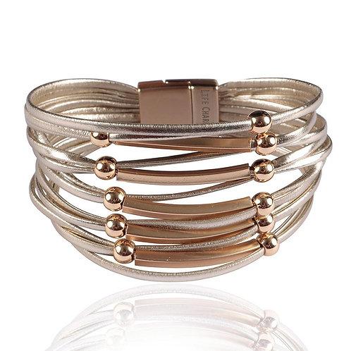 Pale Gold Multi Row Wrap Bracelet