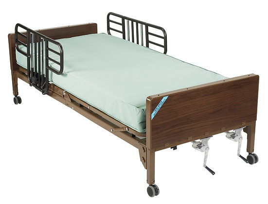 Multi Height Manual Hospital Bed/Half Rails/Mattre