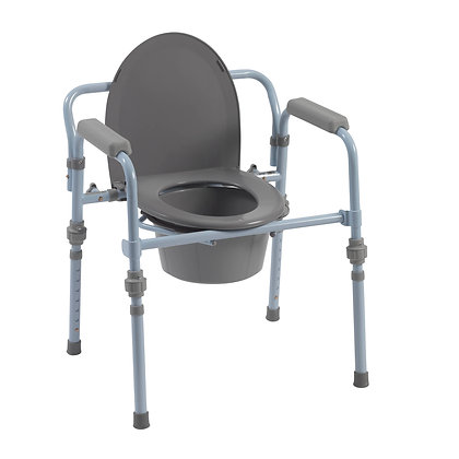 Folding Bedside Commode with Bucket and Splash Gua