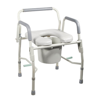 Steel Drop Arm Bedside Commode/Padded Seat/Arms