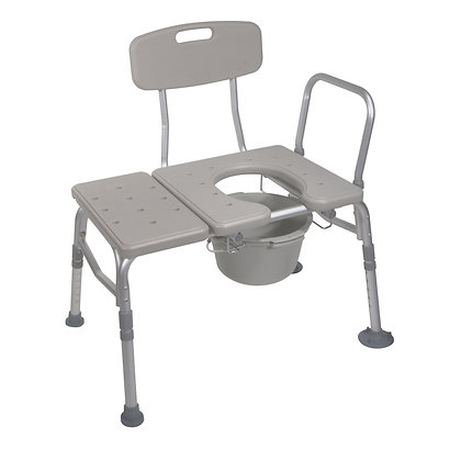 Combination Plastic Transfer Bench with Commode Op