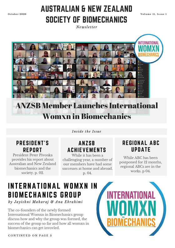 International Womxn in Biomechanics, ANZSB Successes + Regional ABCs - October Newsletter Out Now