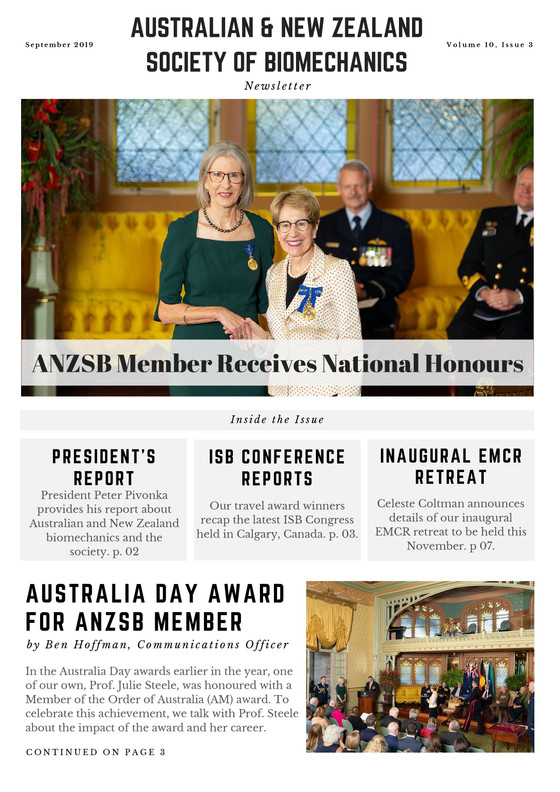 ANZSB Member Receives National Honours, ANZSB EMCR Retreat Details, ISB2019 Conference Reports + Mor
