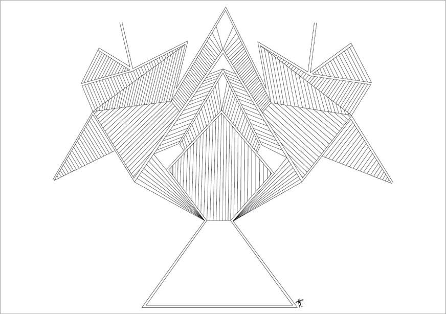 Bouquet, 2018, encre sur papier, 50 x 70cm. Tirages en formats B2, A2 et A3, impression laser sur papier 200g