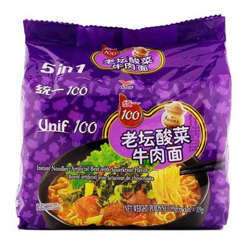 Unif 100 Beef with Sauerkraut Ramen 统一老坛酸菜牛肉面