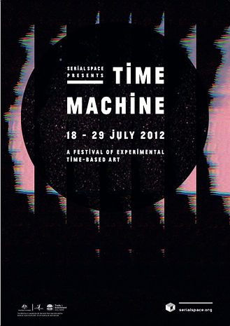 "A poster that reads ""Serial Space presents Time Machine: A Festival of Experimental Time Based Art, 18 - 29 July 2012"" There is a black background with white text, there is a speckled patterning in pink and white that looks like bleach marks or a constellation or microparticles floating in the air."