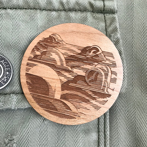 Wooden Pin: Clouds
