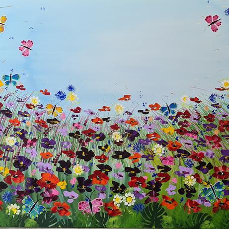 Veldbloemen met vlinders (opdracht)