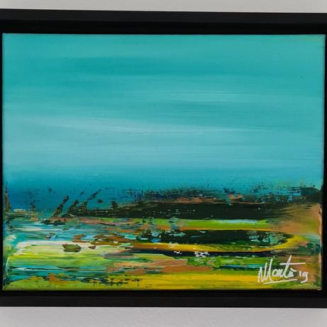 abstract klein in baklijst, €95,00