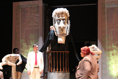 """Giant judge puppet for a production of """"The Resistable Rise of Arturo Ui"""" at Montgomery College Rockville Campus. 2014 (carboard and paper mache)"""