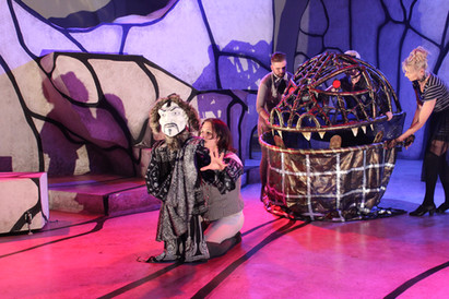 """Puppets for Spooky Action Theatre's production of """"Jarry Inside Out"""" 2015 (paper mache)"""