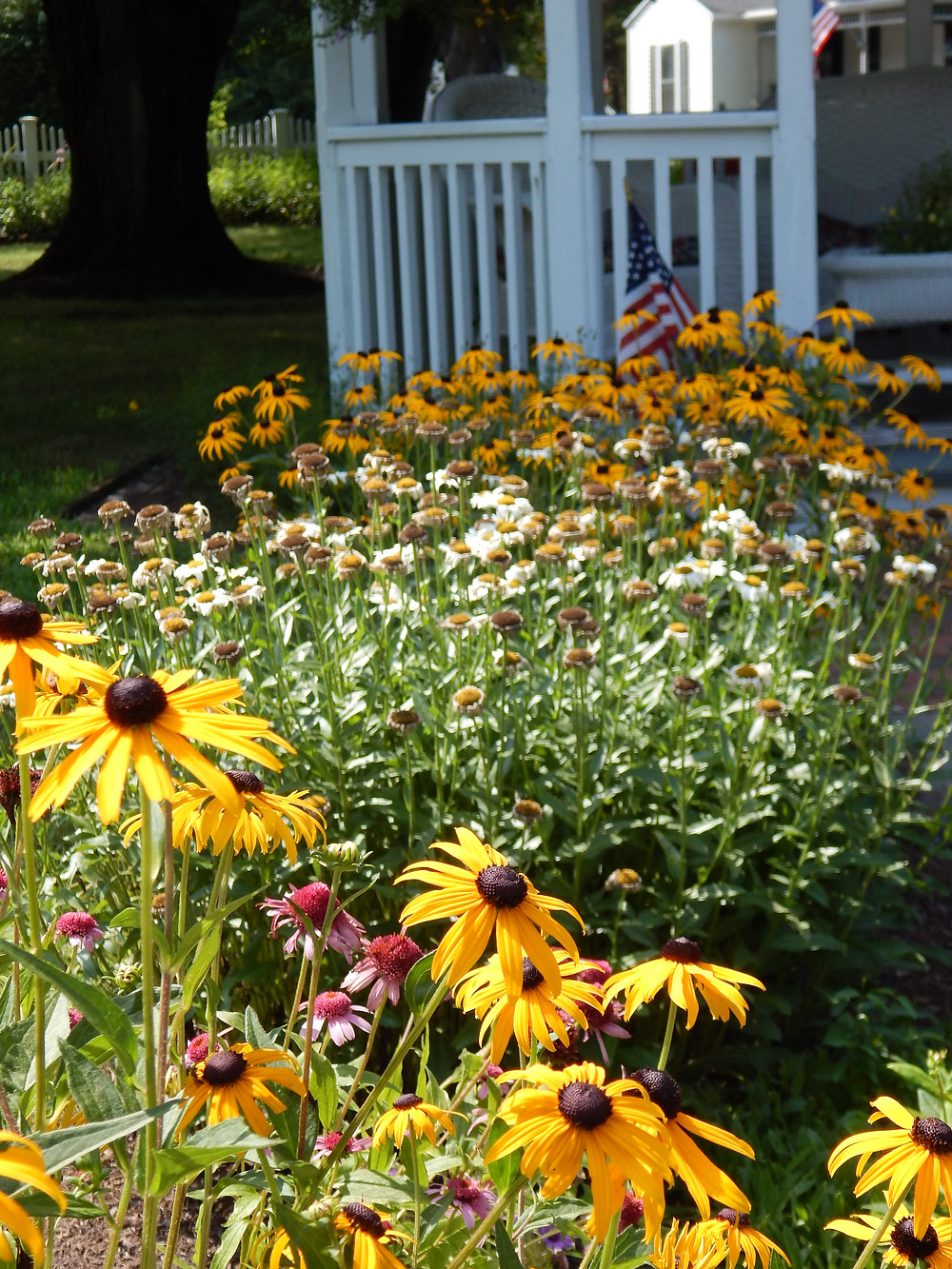 White picket fences and flowers at the Old Mystic Inn
