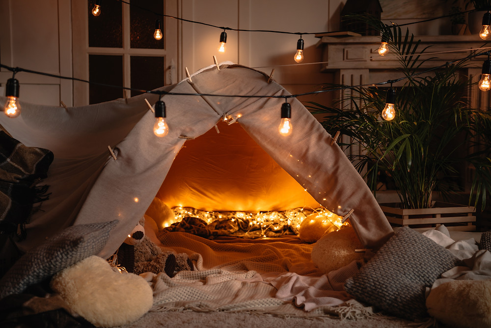 Blanket Fort with Fairy Lights