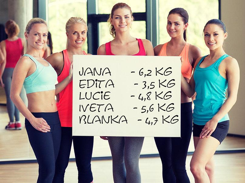 spokojené ženy ukazují kolik tuku zhubly