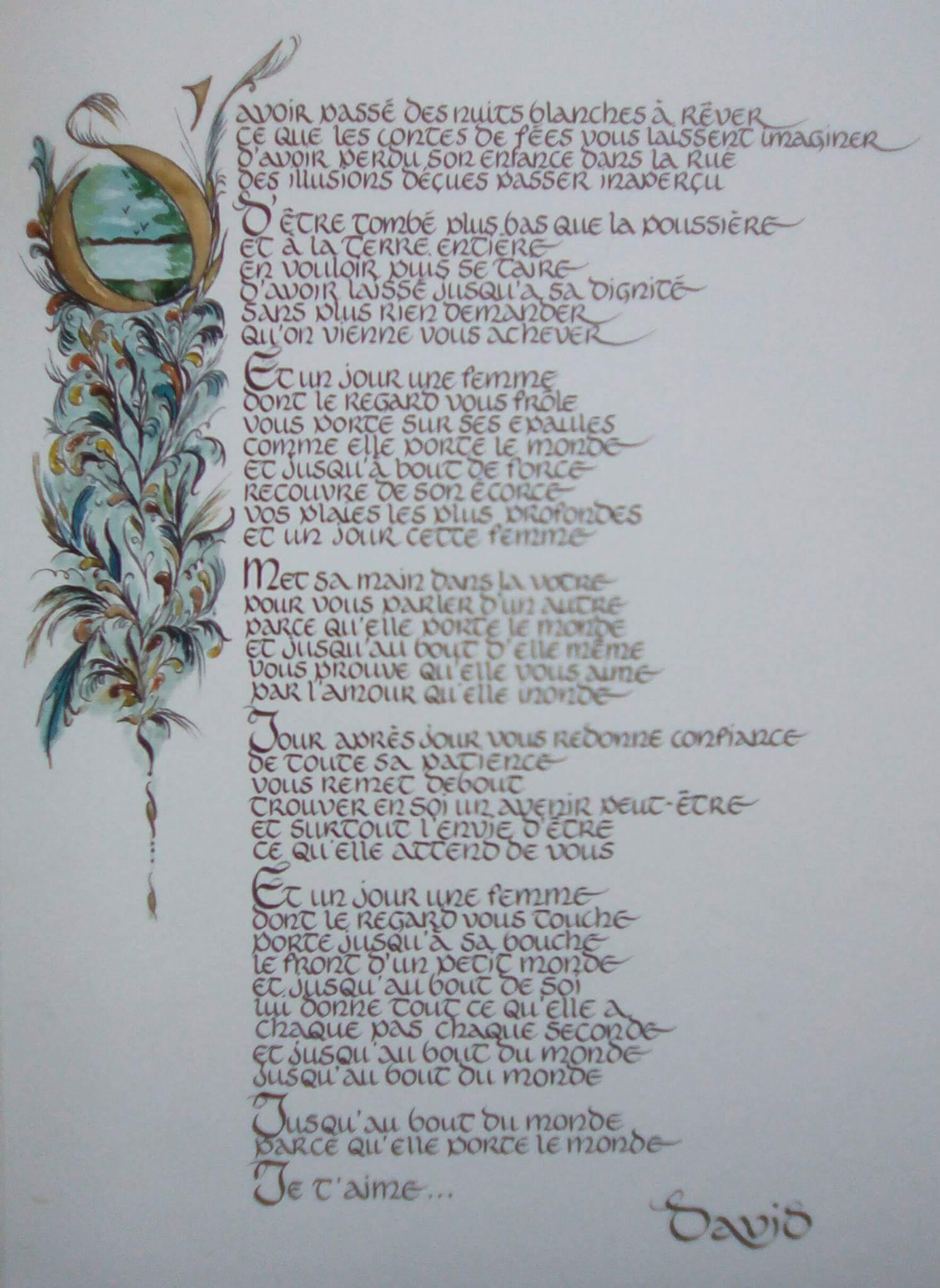 Texte calligraphié et décors