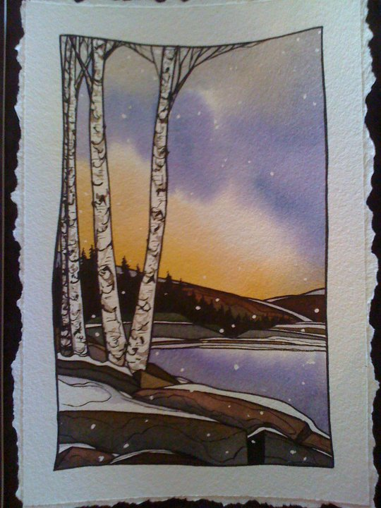 Snow Birch Watercolor