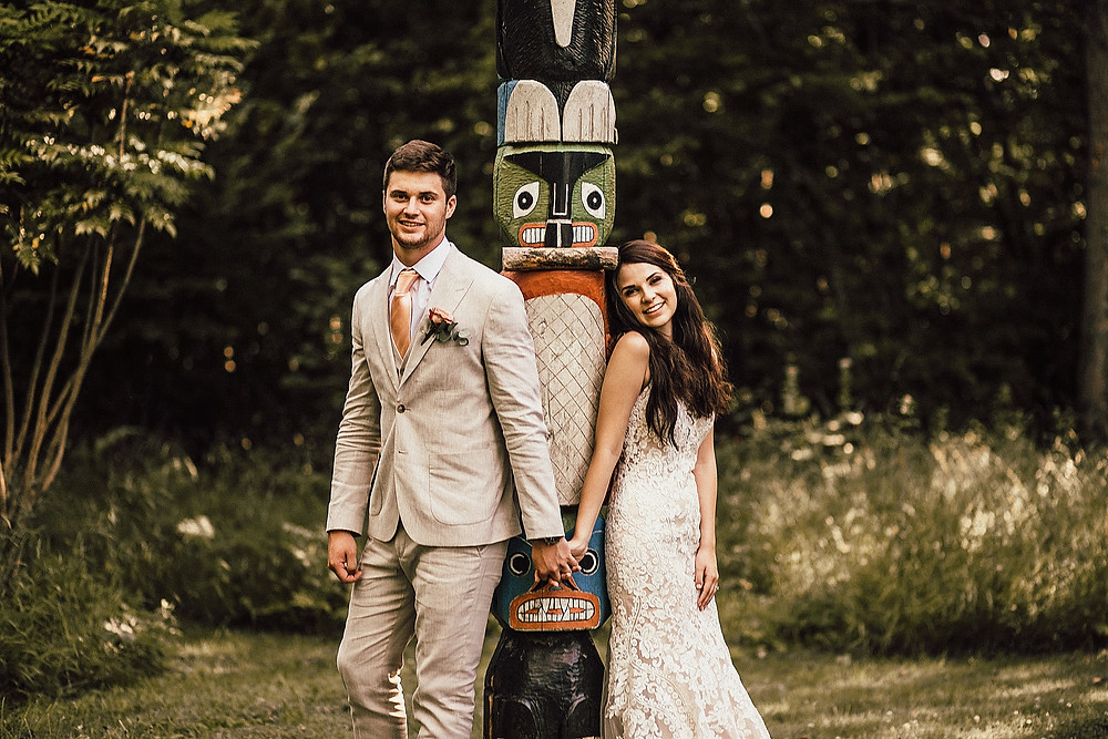 Gorgeous couple in the woods on their wedding day.