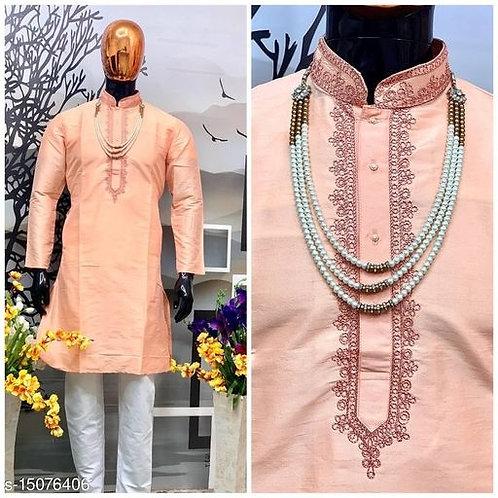 Antic Wear Men Solid Cotton Linen Blend Trail Cut Side Button Kurta (Side Button
