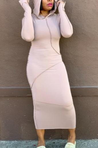 """""""Remi"""" Hooded Midi Dress (Khaki)"""