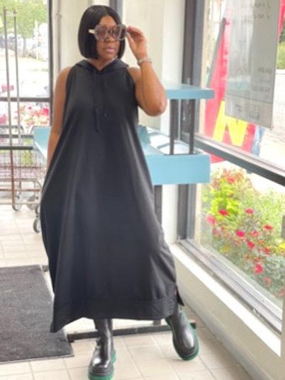 Oversized Sleeveless Hooded Dress
