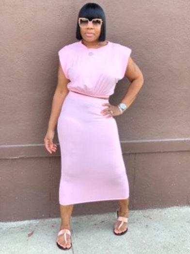 2 Piece Midi Skirt Set (Pink)