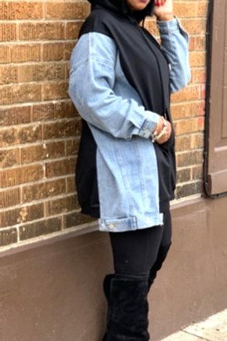 Denim Hooded Sweatshirt